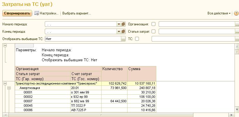затраты на ТС 1С:Управление автотранспортом Стандарт